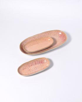 Areia Servierplatte M mit Goldrand pink