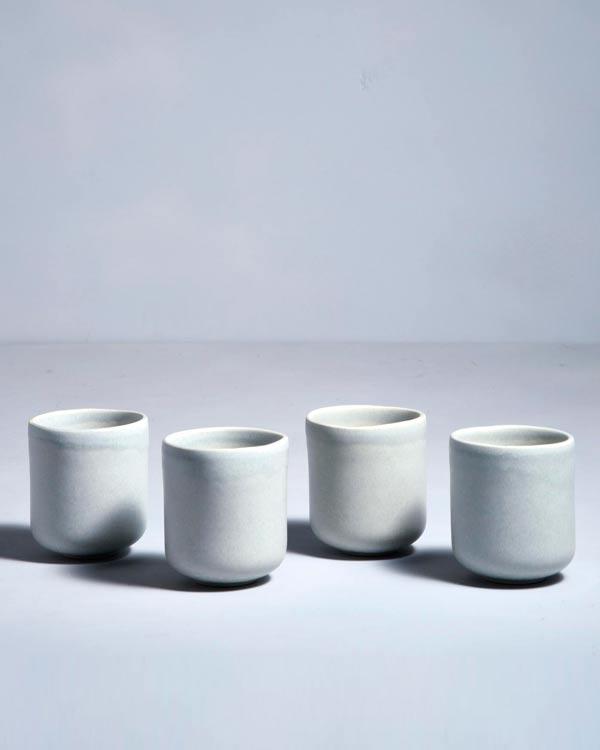 MACIO - Set of 4 Mugs small stone green