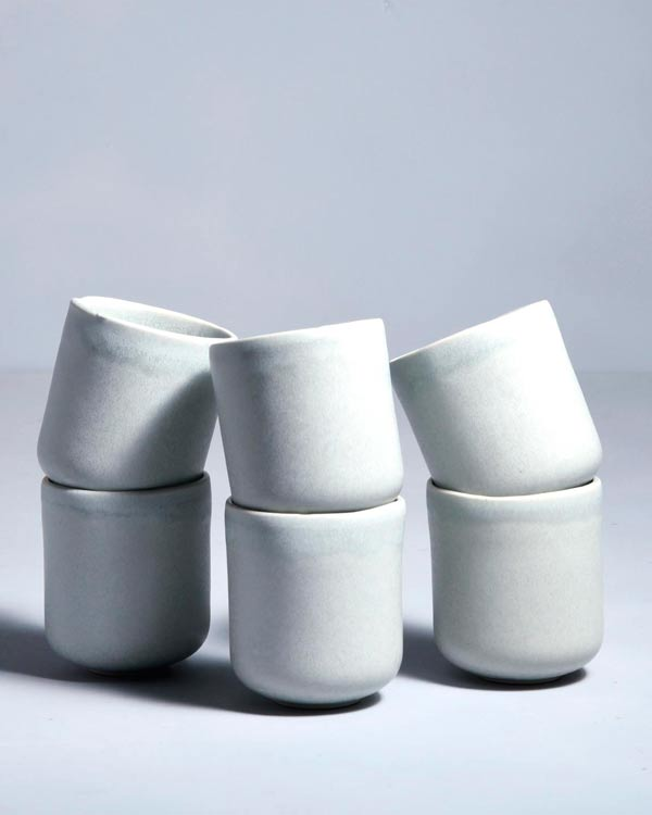 MACIO - Set of 6 Mugs small stone green