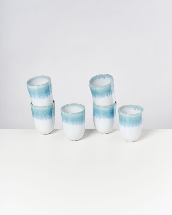 ALCACHOFRA - Set of 6 Cups big greenblue