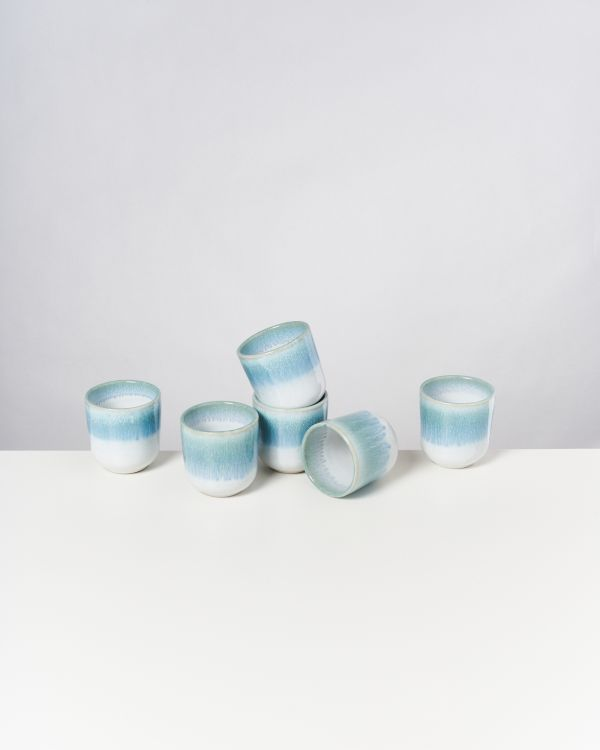 ALCACHOFRA - Set of 6 Cups small greenblue