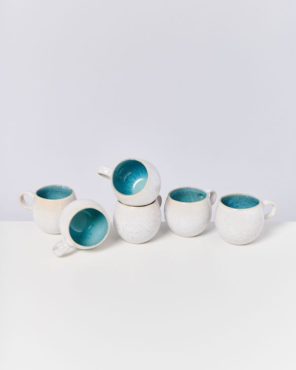 AREIA - Set of 6 Cups small aqua