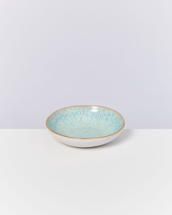 AREIA - Mini plate deep mint with gold rim