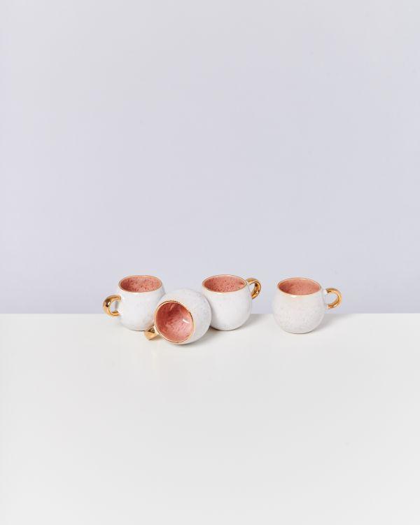 Areia 4er Set Espressotasse pink mit Gold