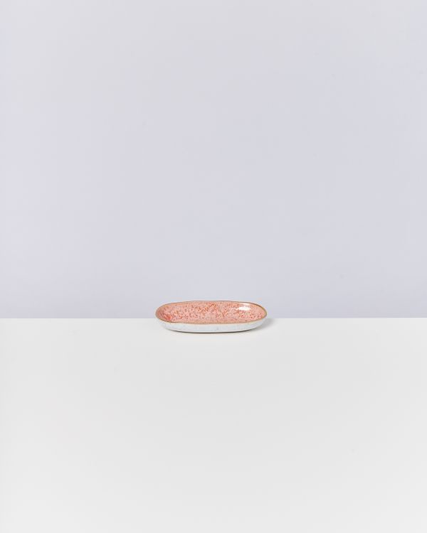 AREIA - Serving Platter S pink with golden rim