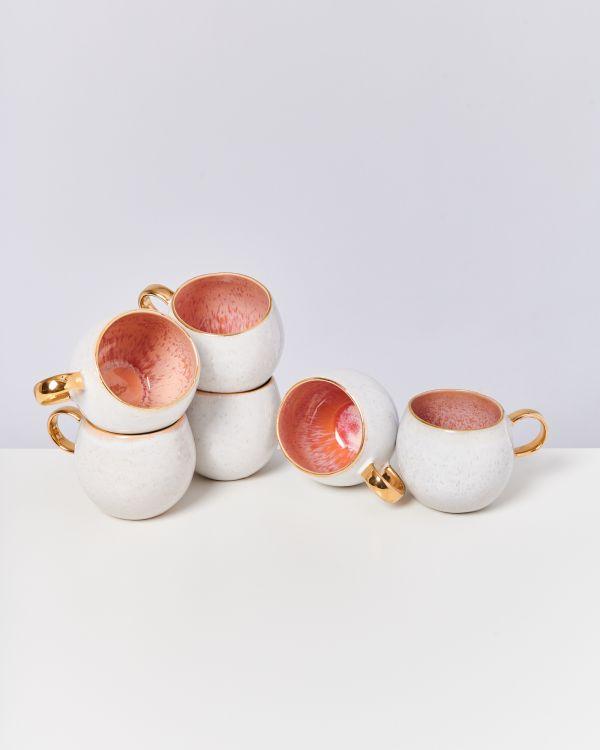 Areia 6er Set Tasse groß pink mit Gold