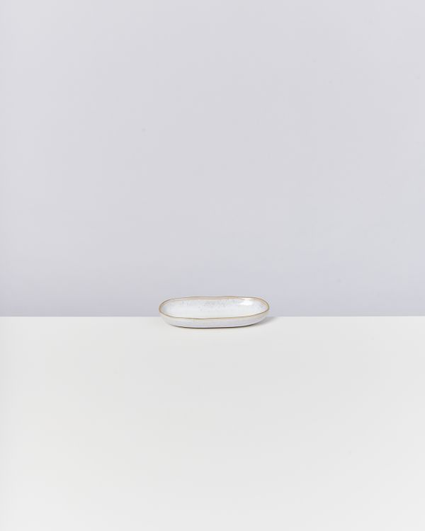 AREIA - Serving Platter S white with golden rim