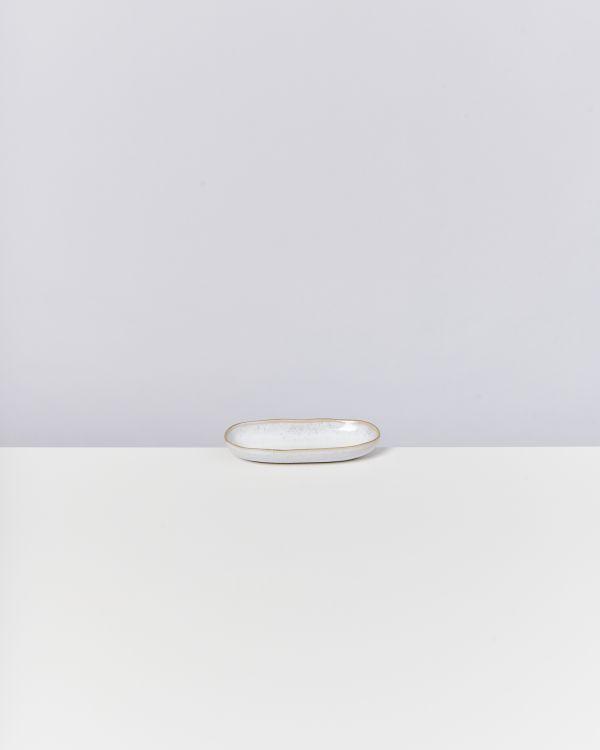 Areia Servierplatte S mit Goldrand weiss