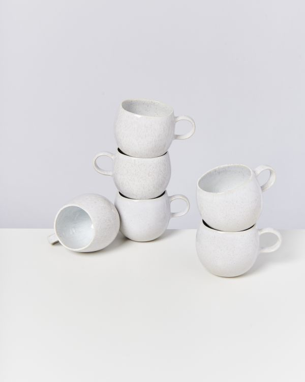 AREIA - Set of 6 Cups small white