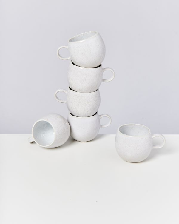 AREIA - Set of 6 Cups big white
