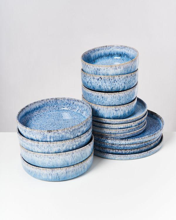 Cordoama blau gesprenkelt - 16 teiliges Set