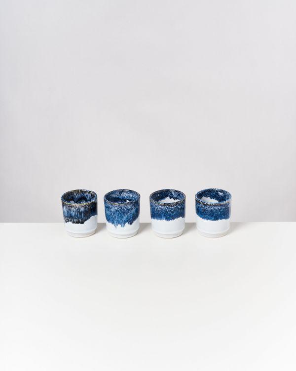 Cordoama 4er Set Becher blau gesprenkelt