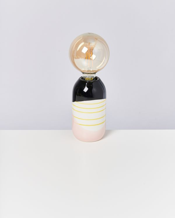FAROL - Lamp black rose yellow stripes