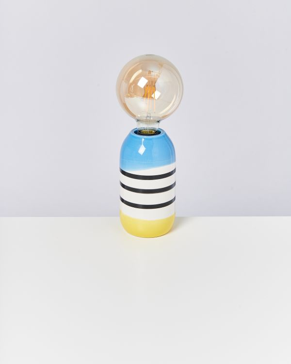 FAROL - Lamp black white striped with blue