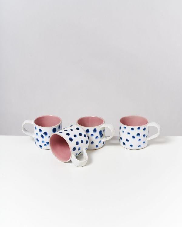 Nódoa 4er Set Tasse rosa mit Punkten
