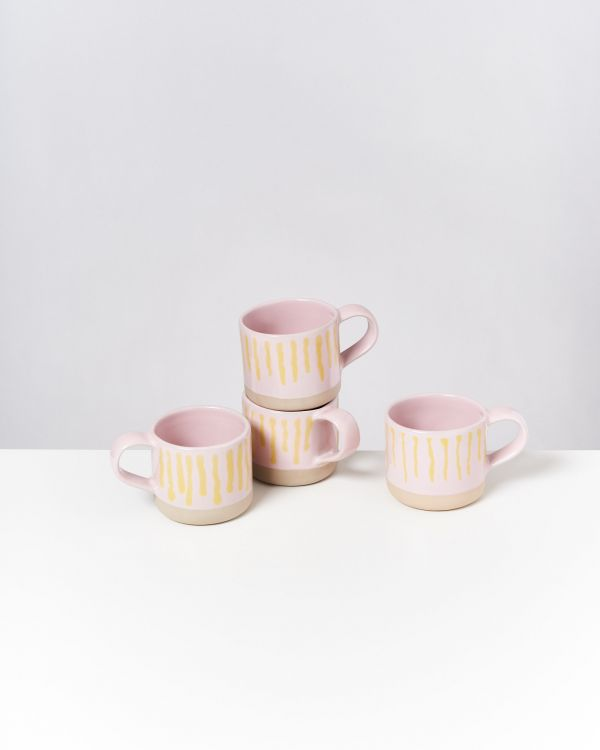 Nódoa 4er Set Tasse rosa gelb gestreift