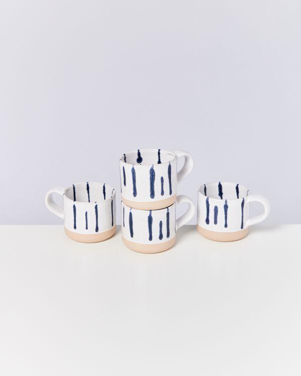 Nódoa 4er Set Tasse weiß blau