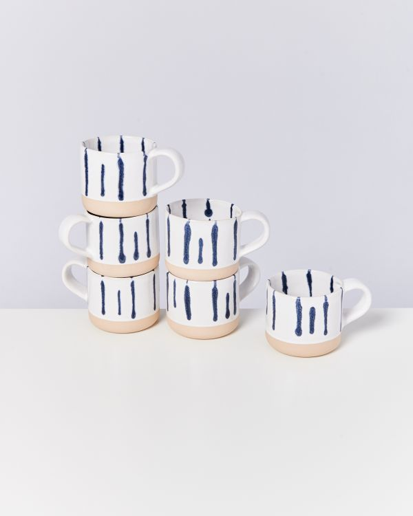 Nódoa 6er Set Tasse weiß blau