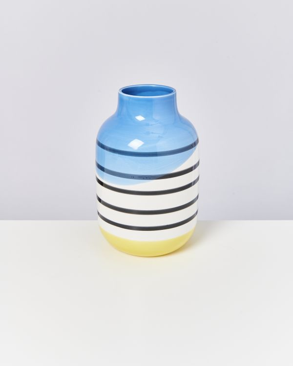 NUNO L - black & white striped with blue
