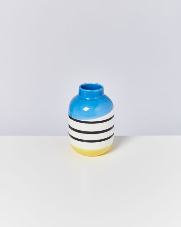 NUNO M - black & white striped with blue
