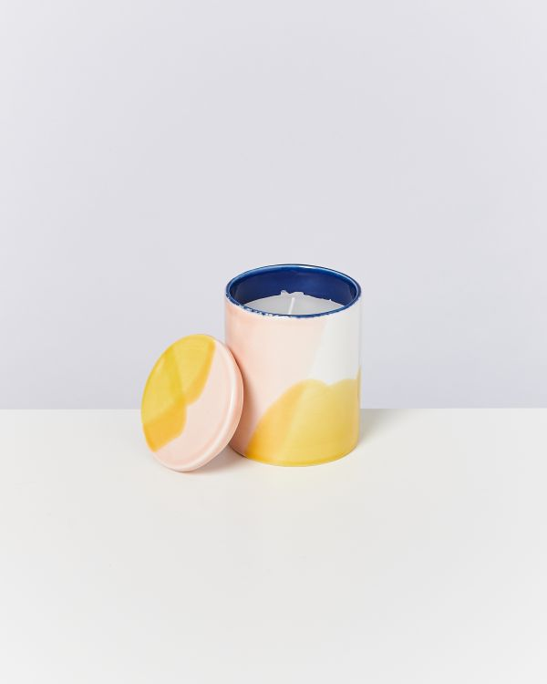 VELA - Candle white pink yellow