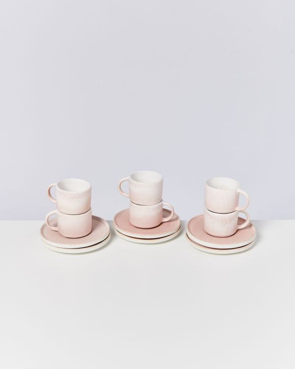 Zavial rose - Set of 6 Espressomugs with Saucer