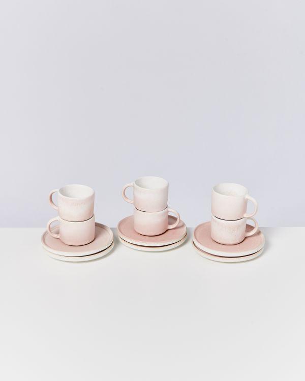 Zavial rose 6er Set Espressotasse mit Untertasse