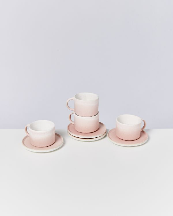Zavial rose - Set of 4 Mugs with Saucer