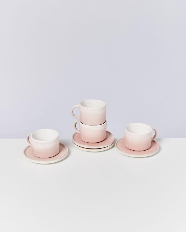 Zavial rose 4er Set Tasse mit Untertasse