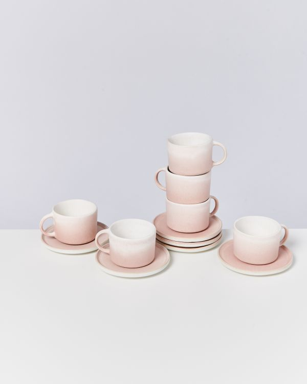 Zavial rose - Set of 6 Mugs with Saucer