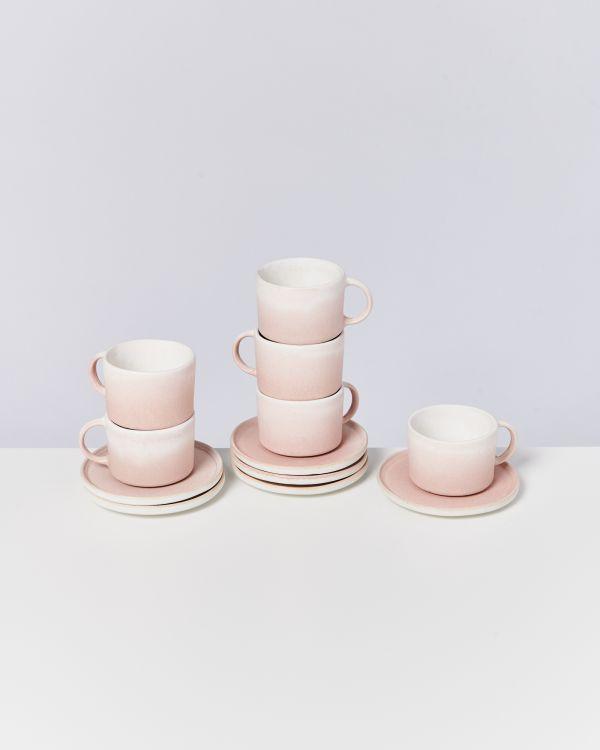 Zavial rose 6er Set Tasse mit Untertasse