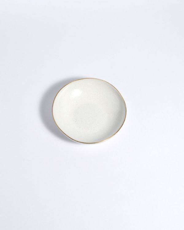 AREIA - Mini plate white with gold rim