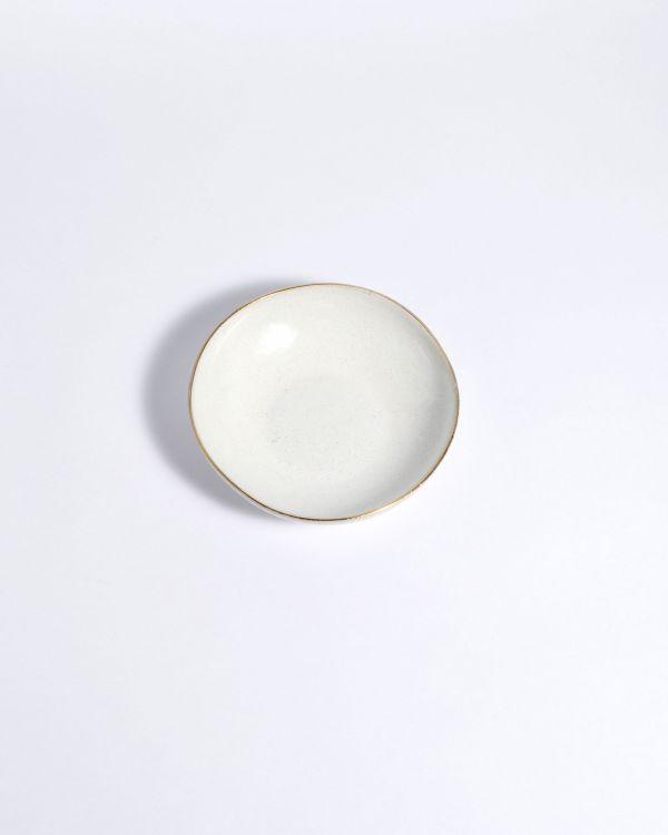 Areia Mini Teller mit Goldrand weiss
