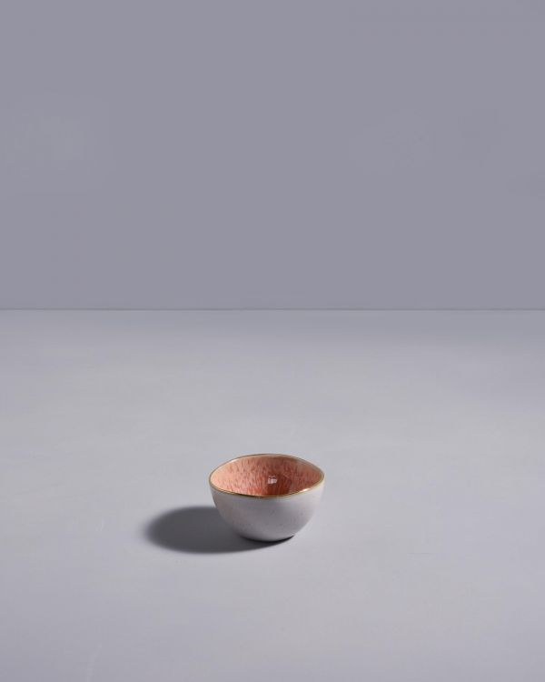 AREIA - Saucebowl pink with golden rim