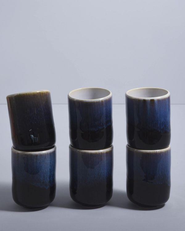 Alcachofra 6er Set Becher groß schwarz
