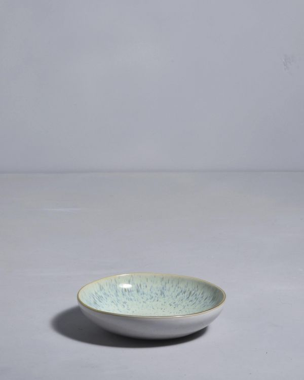 AREIA - Mini plate white mint gold rim