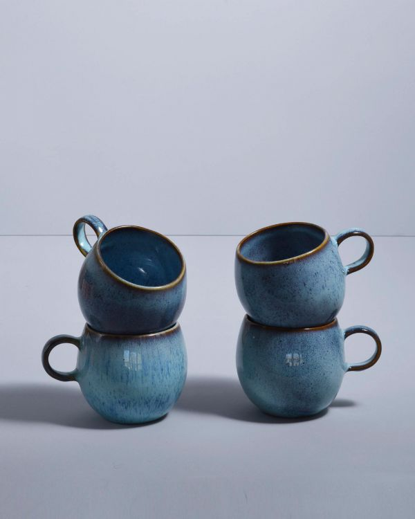 AREIA - Set of 4 Cups big teal