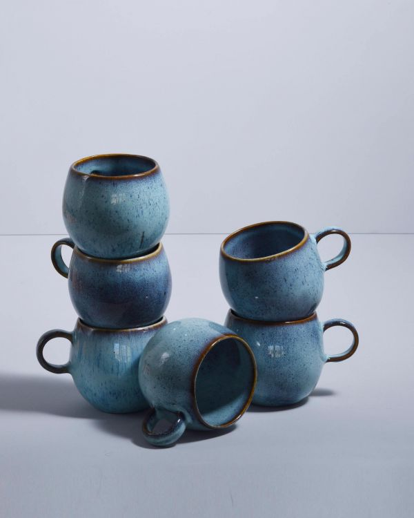 AREIA - Set of 6 Cups big teal