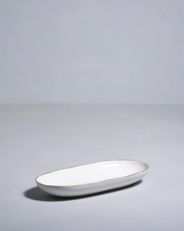 AREIA - Serving Platter M white with golden rim