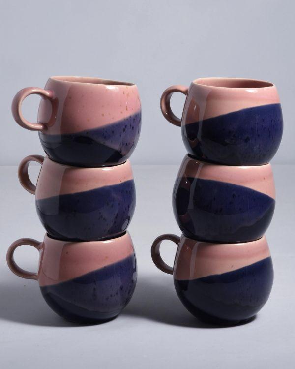 Bica 6er Set Tasse groß pink navy