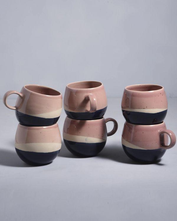 Bica 6er Set Tasse groß pink navy cream