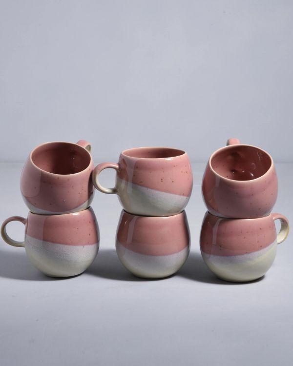 Bica 6er Set Tasse groß pink cream