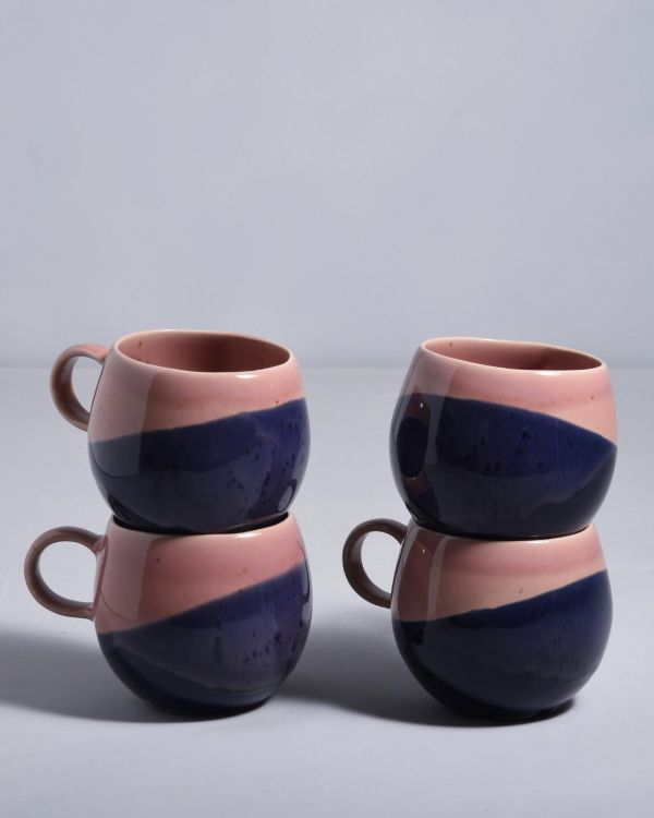 BICA Set of 4 big Cups pink navy