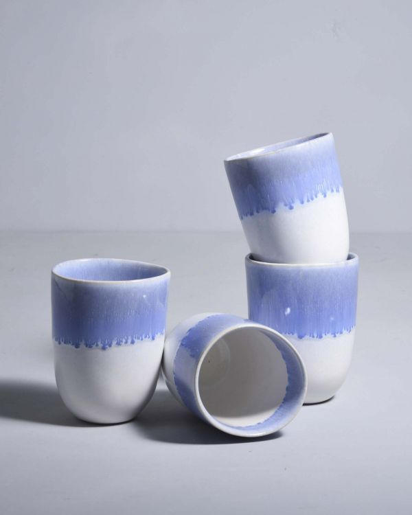 Copa Alto Set of 4 Mugs blue white