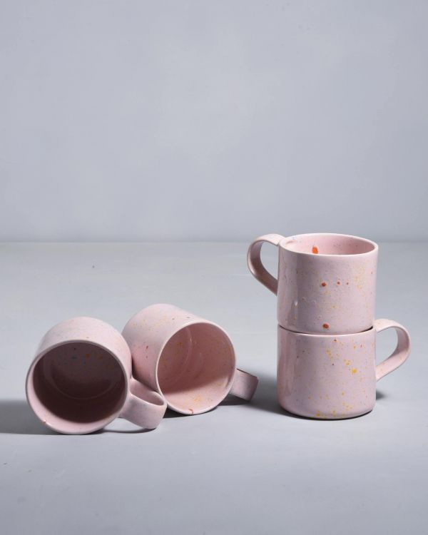 NÒDOA - Set of 4 Cups pink speckles
