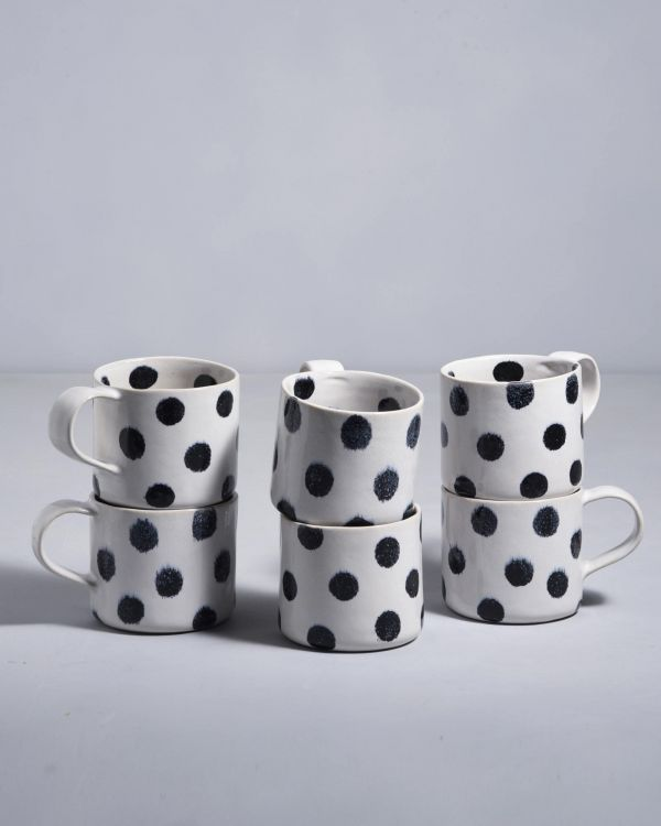 Nódoa 6er Set Tasse schwarze Punkte