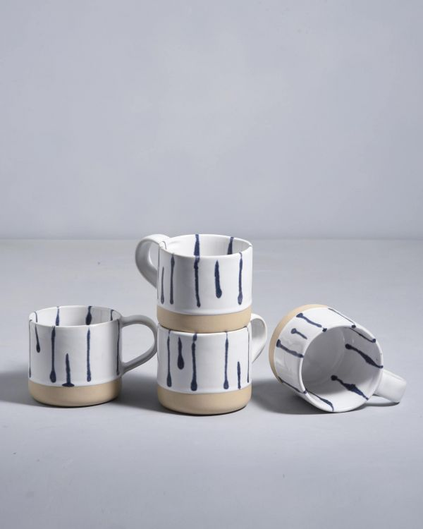 NÒDOA - Set of 4 Cups white blue
