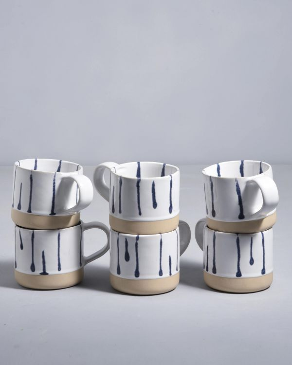 NÒDOA - Set of 6 Cups white blue