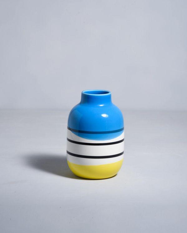 NUNO - black white striped with blue