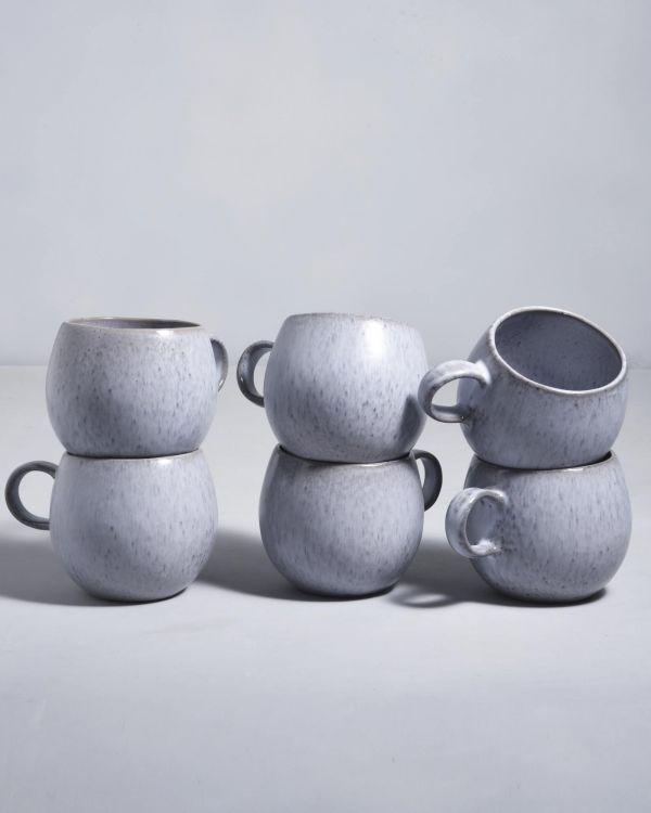 Porto 6er Set Tasse groß grau